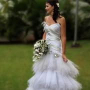 bride, wedding dress, bouquet, orchid