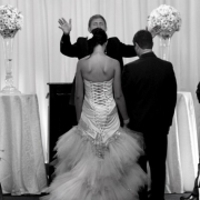 altar, black and white, bride and groom, wedding dress
