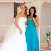 bridesmaid, hairstyle, wedding dress, blue