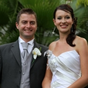 boutonniere, bride and groom, hairstyle, orchid