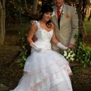 beige, bouquet, suit, wedding dress