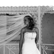 beaded, black and white, veil, wedding dress