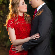 bride and groom, suit, red, wedding dress