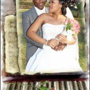bouquet, hairstyle, wedding dress