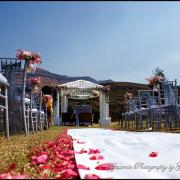 chair, flowers, gazebo, petals, mountain