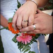 bouquet, wedding band, groom, wedding ring