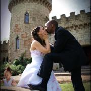 castle, suit, wedding dress