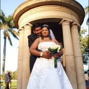 bouquet, tiara, bride and groom, wedding dress