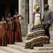 african, bridesmaid dress, groom, wedding dress