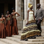 african, bridesmaid dress, groom, wedding dress