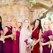 bouquet, bridesmaid dress, hairstyle, makeup