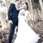 bride and groom, forest, kiss