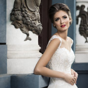 hairstyle, makeup, wedding dress