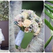 bouquet, shoes, wedding dress