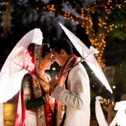 bride and groom, parasol, sari