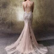 beads, mermaid, pink, wedding dress
