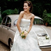 bouquet, car, wedding dress