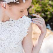bride, headpiece, nails, wedding dress