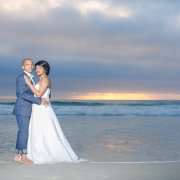beach, bride and groom, dress, suit, feature shot