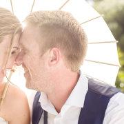 bride and groom, parasol