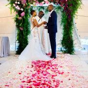 aisle, arch, petals, suit, wedding dress