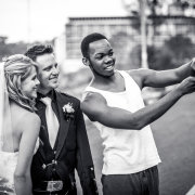 black and white, bride and groom