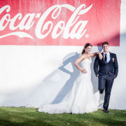 bride and groom, city, suit