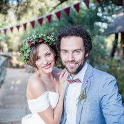 headpiece, suit, bride and groom