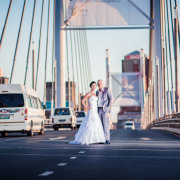 bride and groom, bridge, city