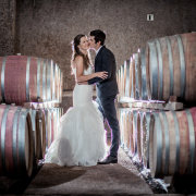 bride and groom, suit, vineyard, wedding dress, cellar