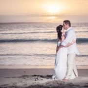 beach, bride and groom