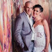 wedding dress, bride and groom