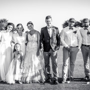 bridal party, black and white