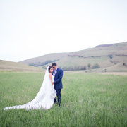 bride and groom, field