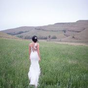 bride, dress, field
