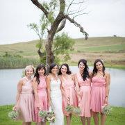 bouquet, bride, bridesmaids, dress