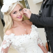 headpiece, makeup, wedding dress