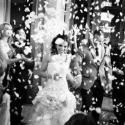 confetti, wedding dress