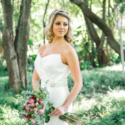 bouquet, forest, hair, wedding dress