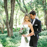 bouquet, forest, hair, suit, wedding dress