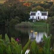 farm house, farmhouse, water