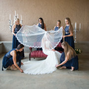 bridesmaids, dress, lace, veil, wedding