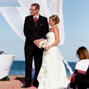 beach, suit, wedding dress