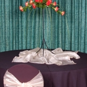 candles, chair covers, flowers