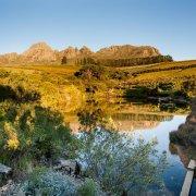 lake, winelands, mountain