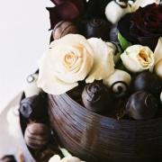 cake, chocolate, roses, white
