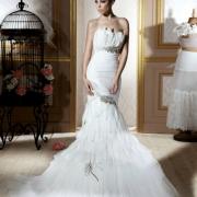 bridal wear, wedding dress, white, feathers
