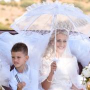 bride, parasol