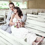 bouquet, shoes, wedding dress