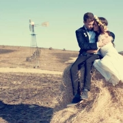bride and groom, countryside